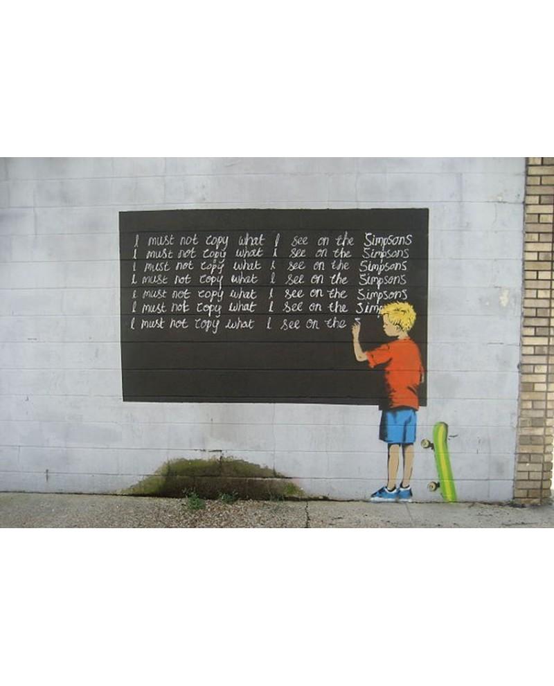 Banksy arte graffiti urbano niño en pizarra simpsons Descripción de...