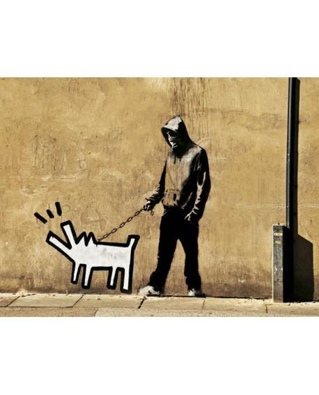 Banksy arte graffiti urbano paseando al perro de haring Home