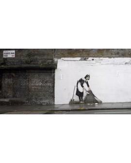 Banksy arte graffiti urbano panoramico barriendo casa Cuadros Horizontales