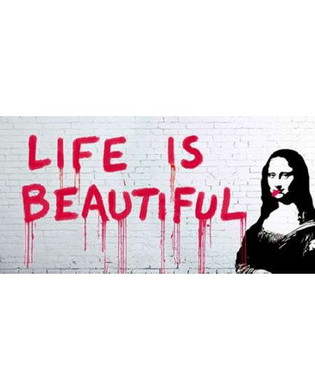 Banksy arte graffiti urbano panoramico life is beautiful Cuadros Horizontales