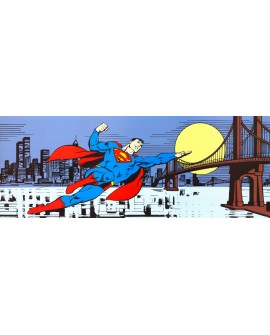SUPERMAN OVER MANHATAN cuadro comic warner mural panoramico