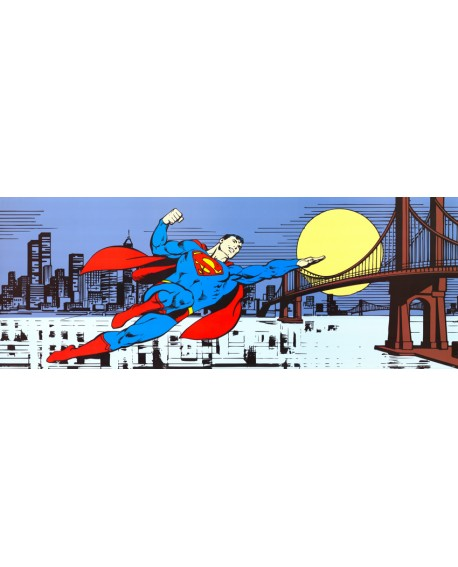 SUPERMAN OVER MANHATAN cuadro comic warner mural panoramico Cuadros Horizontales