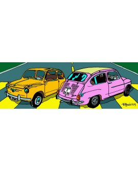 Tony Polonio - Cuadro de Seat Fiat 600 tipo comic Arte Pop Español