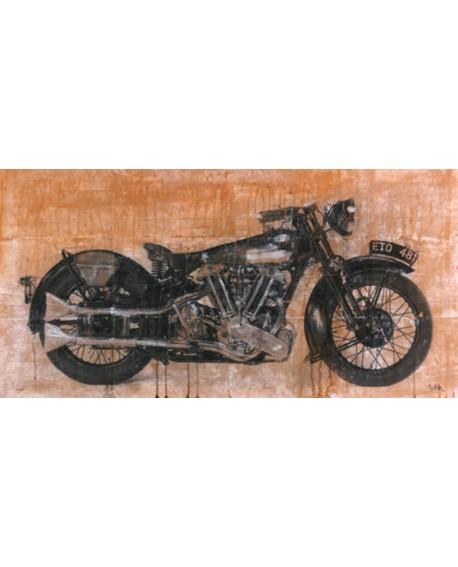 dario moschetta cuadro abstracto moto clasica antigua Cuadros Horizontales