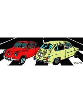 Tony Polonio - Cuadro de Seat Fiat 600 Nocturno Arte Pop Español