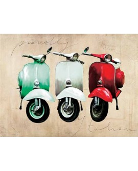 teo rizzardi cuadro 3 vespas clasicas italia pop art