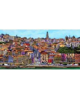 jose alcala cuadro mural panoramico de ciudad oporto Cuadros Horizontales