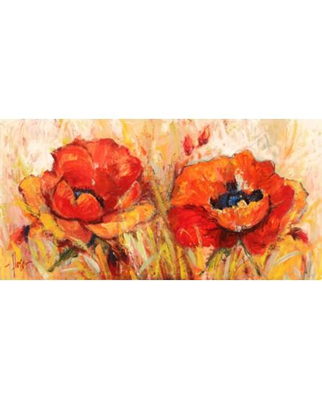 luigi florio cuadro cabecero flores amapolas abstractas Cuadros Horizontales