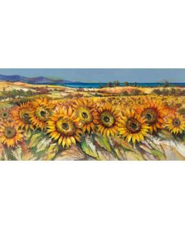 luigi florio cuadro mural panoramico campo girasoles