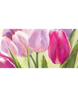 leonardo sanna cuadro flores tulipanes violeta panoramico Cuadros Horizontales