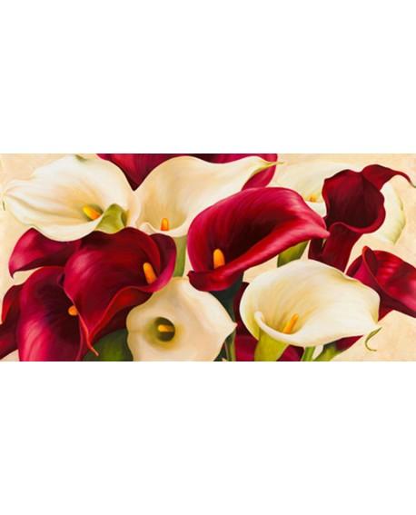 serena biffi cuadro mural flores calas rojas y blancas Cuadros Horizontales