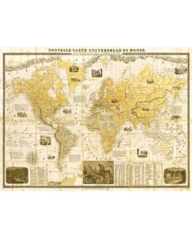 JOANNOO CUADRO MAPA DEL MUNDO 1859 MURAL HORIZONTAL