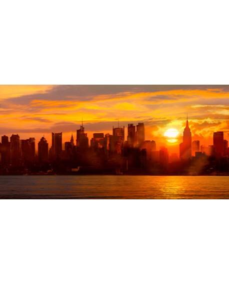 GREEN CUADRO FOTOGRAFIA MANHATTAN NEW YORK AMANECER Cuadros Horizontales